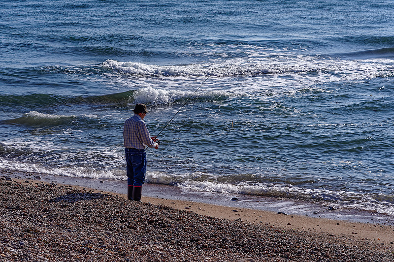 Fisherman on the beach, 3rd October 2018.