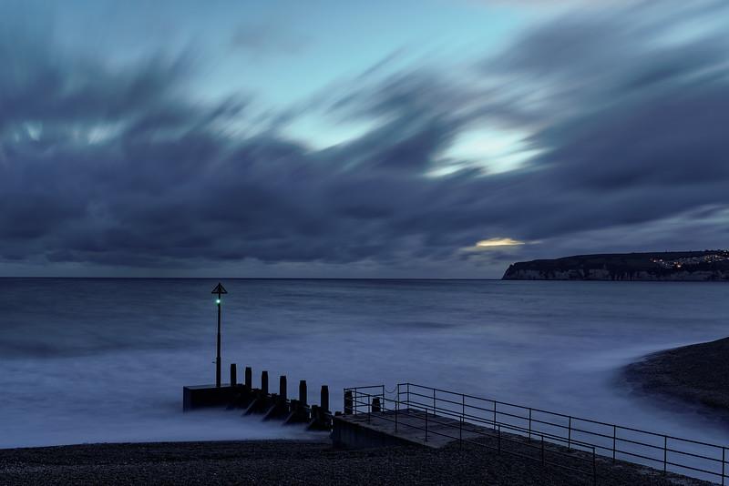 Long exposure of Seaton Bay at dusk, 11th October 2018.