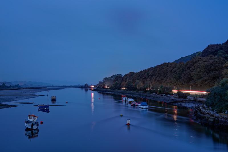 The Axe Estuary as night falls, 5th October 2018.