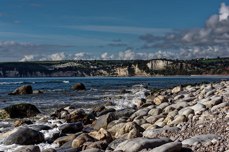 Looking across Seaton Bay, towards Beer Head, 9th October 2015.