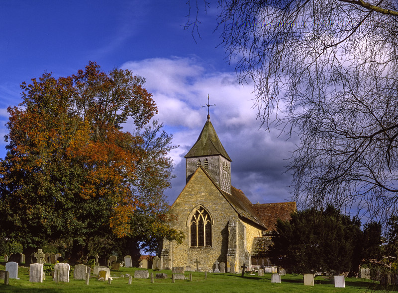 St Mary & All Saints Church, Dunsfold, Surrey. Scanned Transparency.