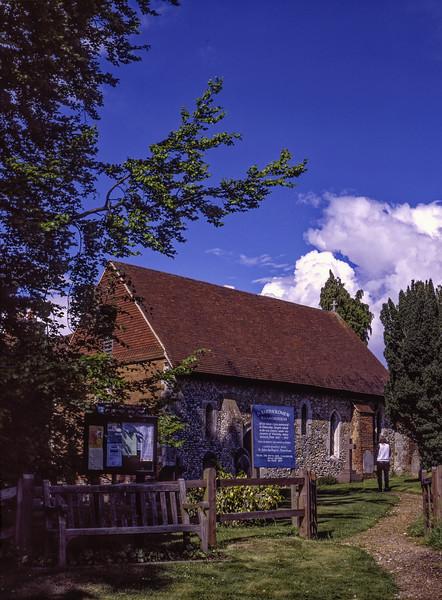 St Bartholomew Church, Wanborough, Surrey. Scsnned Transparency.