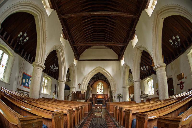 Interior of St Mary's Church, Worplesdon, Surrey. 17th April 2018.