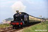 940618-001  Great Western Railway GWR 51XX 2-6-2T No 4160 is captured passing Blue Anchor Bay, West Somerset Railway.