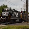 NS 5278 and CSX 2725 heading north through downtown Vineland NJ, 5-11-2017, (C) Edan Davis Photography  (1)