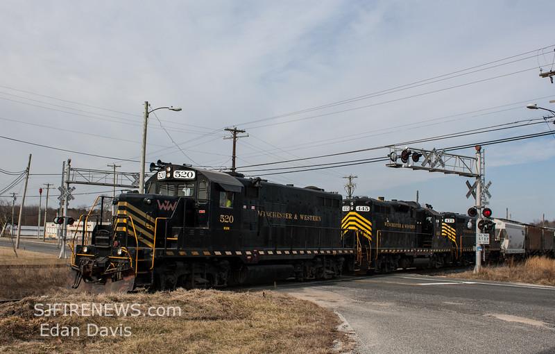 Winchester and Western CM-14 crossing Maple Ave  Cedarville NJ, 02-14-2018, (C) Edan Davis Photography  (2)