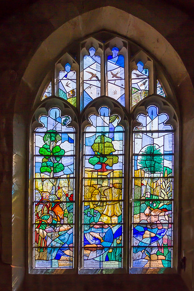 9th Apr 2017:  The stained glass window in the church next to Great Chalfield Manor