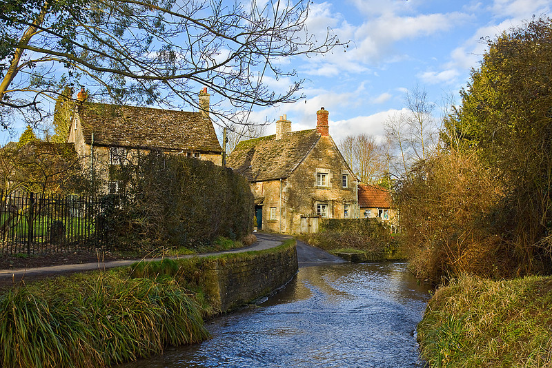 21st Feb 10: The long ford is the only road access to the cottages-Lacock