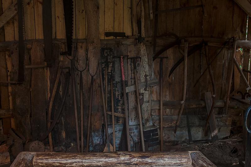 24th Apr 13:  Farm Tools at Oakhurst Cottage in Hambledon,  1/30 @ f6.3 iso 3200
