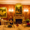 27th Apr 2015:  The National Trust tour guide explaining about the Dining Room at Polesden Lacey.  To preserve the artifacts all the rooms are very dark so the pictures are taken using  6400 iso.