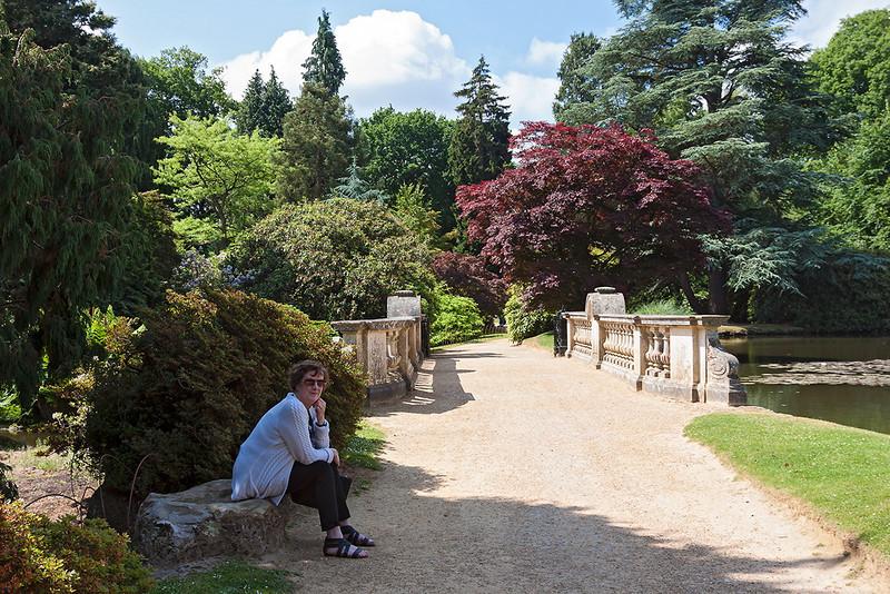 5th Jul 13:  Joy and the bridge at Sheffield Park Gardens