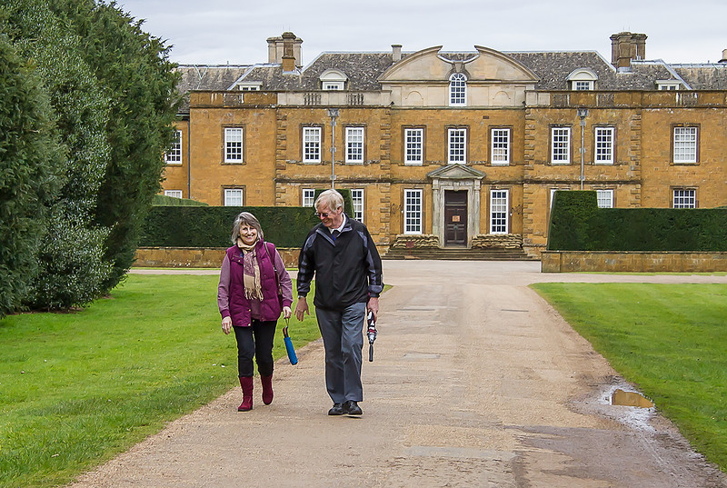 8th Apr 2016:  Sue & Pete leaving Upton House in Warwickshire