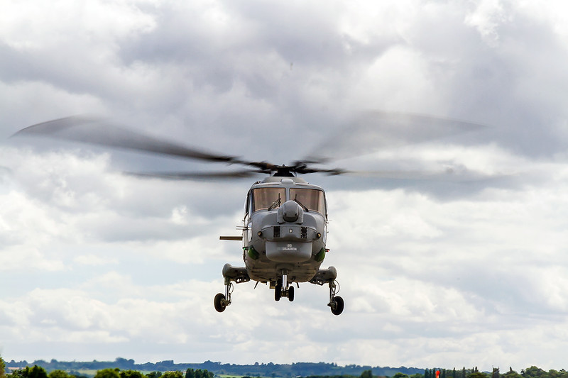 25th Julu 2016:  A Lynx helicopter from 815 Squadron about to land at Yeovilton