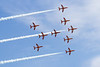 14th Aug 2015:  The Red Arrows 'Spitfire fo mation at Eastbourne