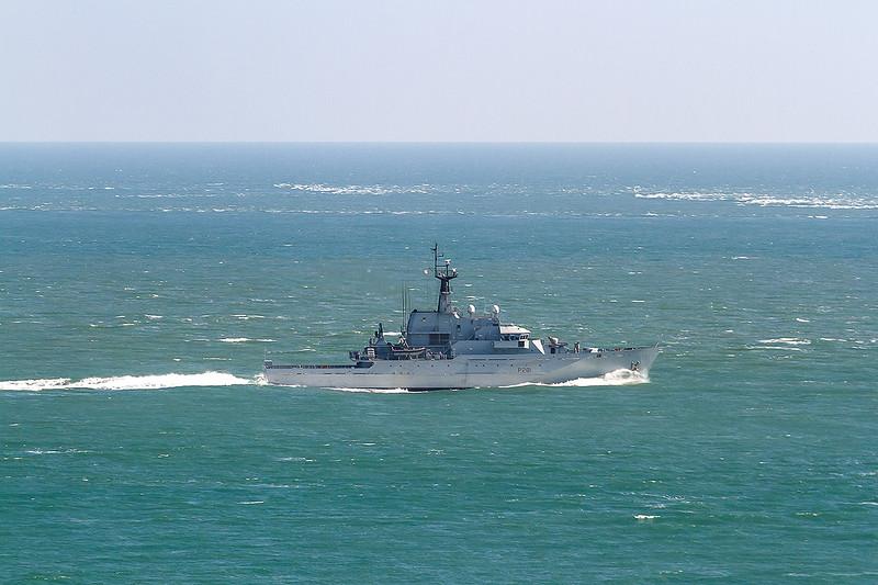 10th Sep 14: P281  HMS Tyne coastal protection vessel off Potland Bill