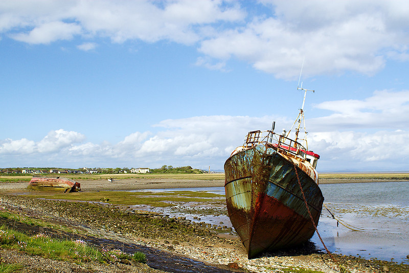 8th: May 07: Rotting trawler nr Piel Island. Barrow in Furness