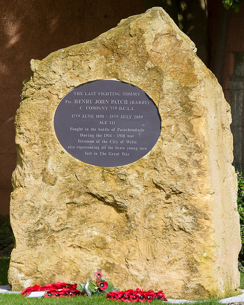 5th Mar 14:  The Harry Patch memorial outside Wells Cathedral