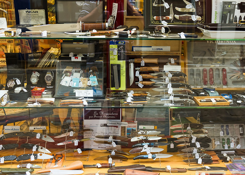 20th May 14:  Knives on display in a shop window in Dieppe