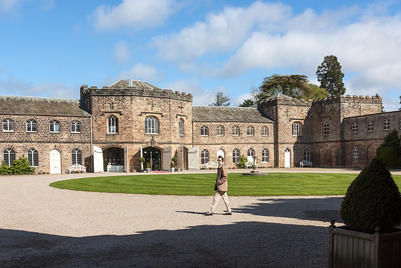 5th May 13:  The quadrangle at Ripley Castle.  The main building is being prepared for a wedding reception