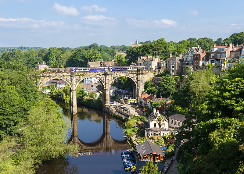 31st May 14:  When you are staying in Knesborough this morning shot is a must.  Crossing the Viaduct is 2P17 the 09.36 from York to Leeds