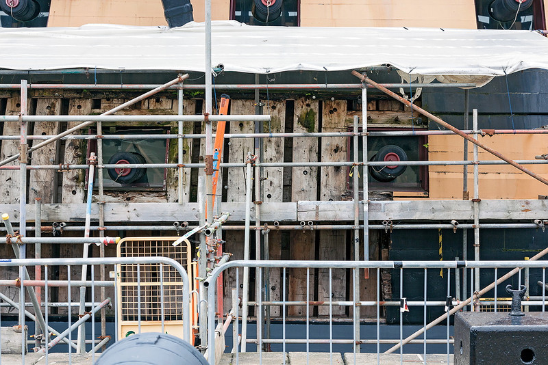 4th Jul 13:  Repairing the side of HMS Victory