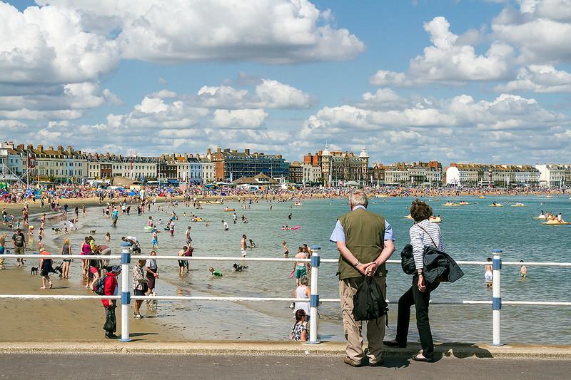 15th Aug 14:  J & J viewing Weymouth Beach