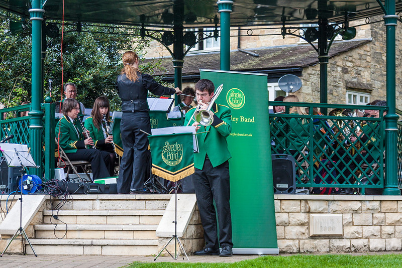 5th May 13:  The Shepley Brass Band playing at Wetherby