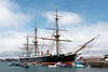 4th Jul 13:  HMS Warrior at Portsmouth.  The first steam powered warship.