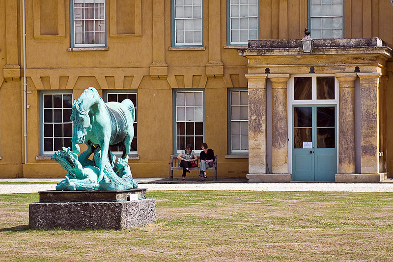 31st July 10:  Horse and Dragon statue outside the entrance at Wellington's house at Stratfield Saye