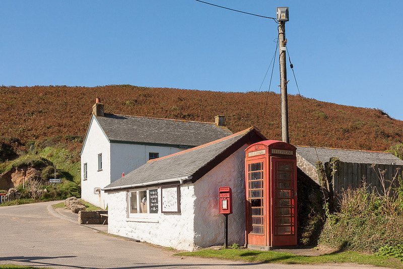 13th Sep 12:  Porthgwarra shop, phone and post boxes.