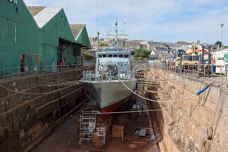14th Sep 12:  A small Naval vessel in the dry dock at Penzance