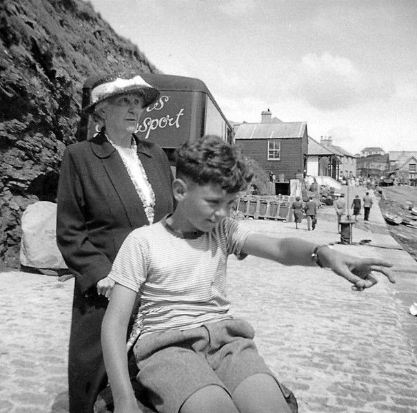 September 1952.  Me, aged 11 just, and my grandmother at Mullion.  The buildings in the background are virtually unchanged during the intervening 58 years.
