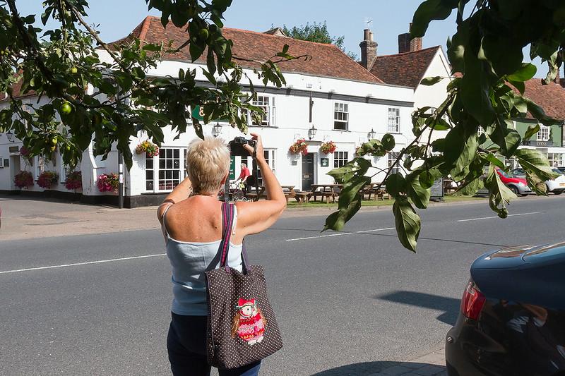 17th Jul 14:  Pan snapping the 'Cock & Ball' in Long Melford