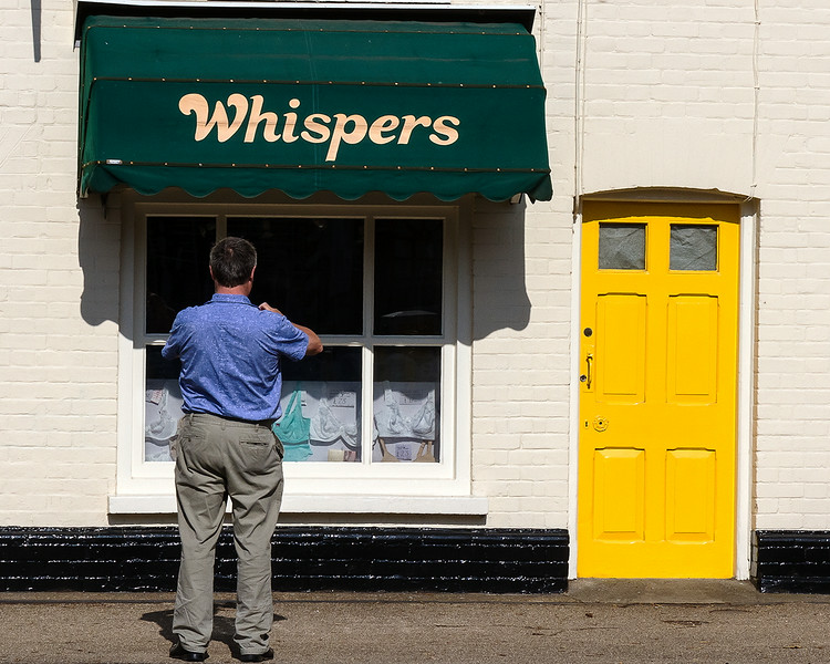 17th Jul 14:  Colin picturing 'Whispers' bra dis[lay in Long Melford
