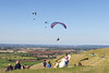6th Sep 2015:  Paraglider and onlookers at the Westbury White Horse