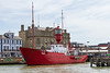 19th Jul 2015;  Launched in 1958 Trinity  House Light Vessel 19 was originally used on the 'St Gowan' staion off the coast of Cornwall.  The last manned  light ship is now moored at Harwich and is a tourist attraction