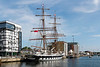 19th Jul 2015:  Owned by theTall Ships Youth Trust the 'Stavros S Niarchos' is preparing to sail from Ipswich Harbour.  The Brig was built in 2000 at Appledore Shipyard in Devon and weighs a little under 500 tons.