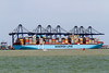 19th Jul 2015:  The worlds largest ship the Majestic Maersk at the new loading point at Felixstowe.  Built in 2013 weighing 194000 toms and 400 meteres long she can carry the equivelent of over 18000  units, a unit i a s 20 ft  container. (a 40 ft container counts a 2 units).