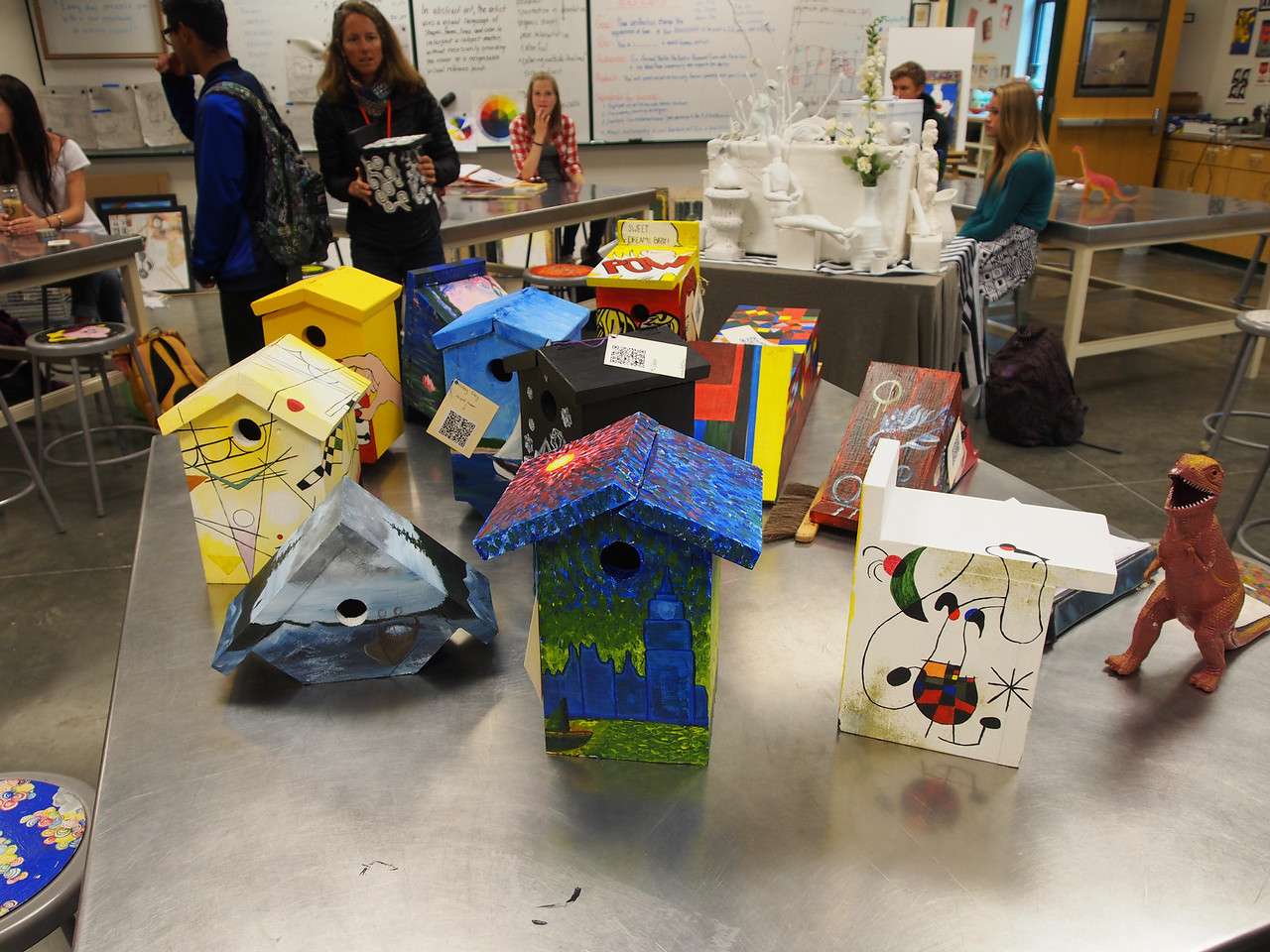 Painting birdhouses for the Shelter