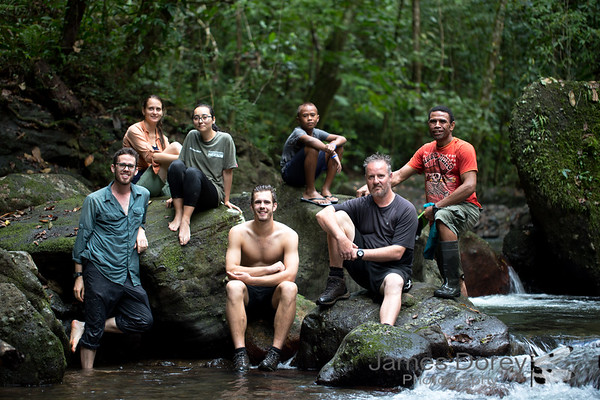 Sampling crew in remote forest on Vanua Levu