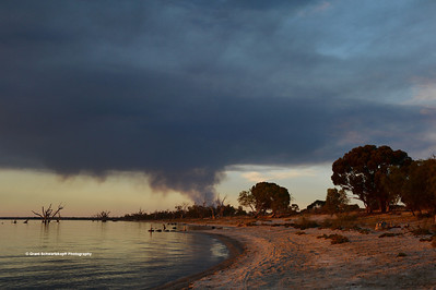smoke from Calperum Station can be seen from Lake Bonney