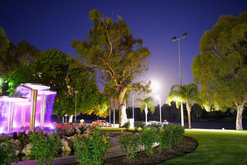 Renmark Fountain by night