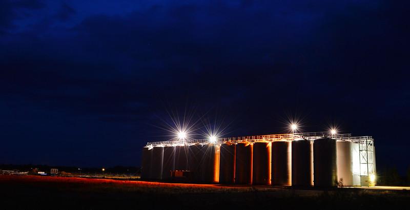 Wine tanks by night