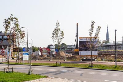 Het bouwterrein vanaf de Marstraverse