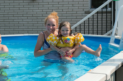 Laura and Ada having a fun time in the pool.