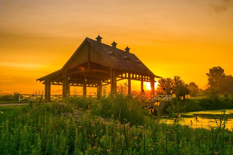 August sunrise  at the bridge