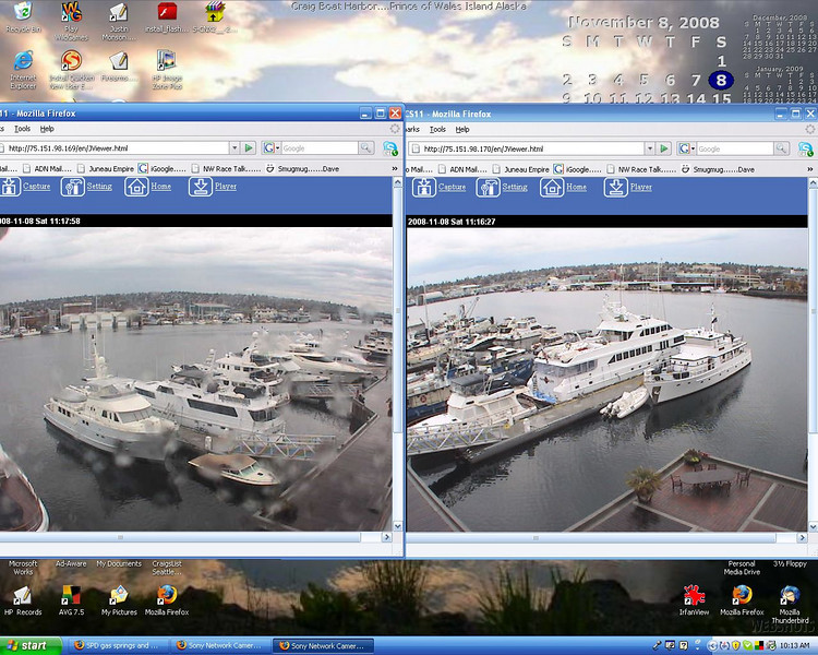 Screen Shot....2 of 3 live webcams at Salmon Bay Marina....