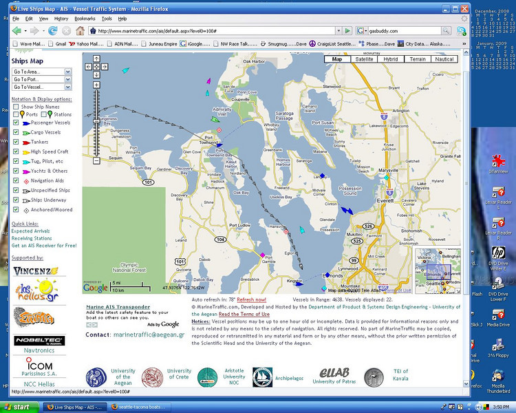 "N68 San Souci traveling form Port Angles to Seattle  11/6/2008 via marinetraffic.com..<br /> <br /> Screen Shot of San Souci's route...<br /> <br /> Place your pointer on the picture above...a transparent will open on the right...from that window Click on ""Original""...."