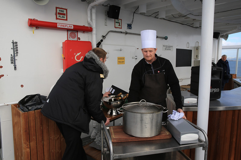 Setting up for a cooking demonstration on deck 7