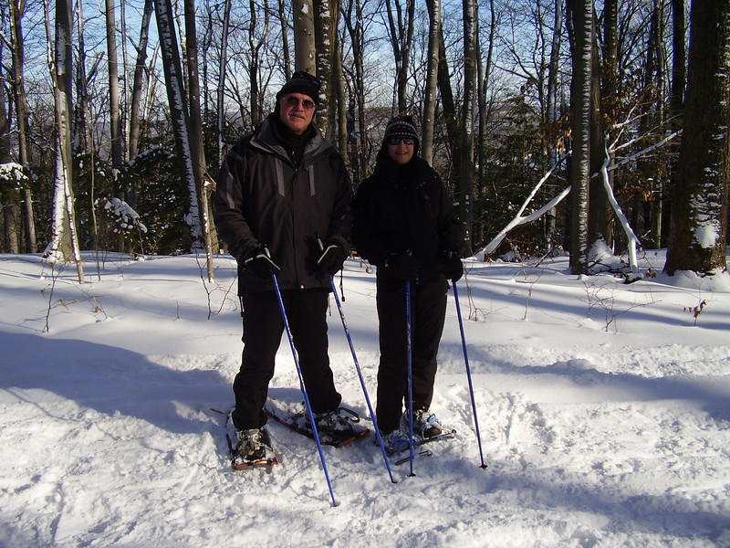 Nordic Walking and Nordic Showshoeing (snowshoeing with poles) - burn more calories than regular walking and snowshoeing + radically reduce the stress to the shins, knees, hips and back